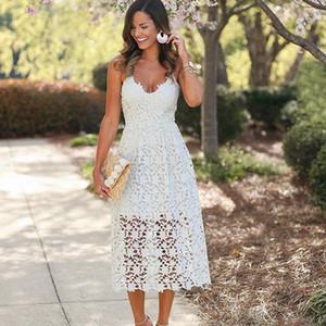2019 A Line High Street Boho Синее черно-белое кружевное платье Платья Summe для женщин Элегантный крой и расклешенные белые пляжные платья для вечеринок