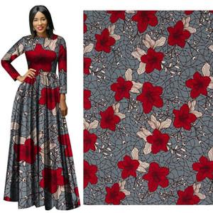 Gerçek Wax Ankara Kumaş Çiçek Baskılı Gelinlik Wax Tissus Afrika Fabric binta Yeni kırmızı çiçek pamuk