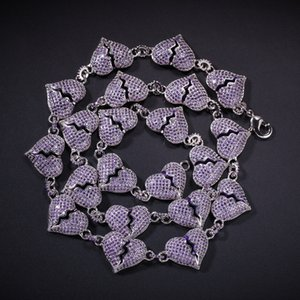 New Iced Out Purple Zircon Heart Broken Chain Necklace for Men Women Hip Hop Jewelry Gift