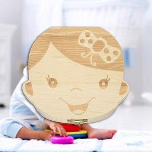 Wooden Baby Kids Tooth Storage Box English Teeth Umbilical Lanugo Organizer Gift Keepsakes Save Baby Wood Tooth Box Storage