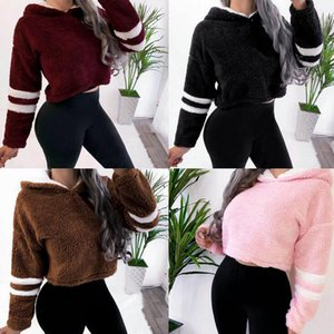 Hiver Teddy Hoodies Femmes Crop Sweat Hoodies Polaires rayé en vrac chaud Automne overs court Tops Femme Outwear