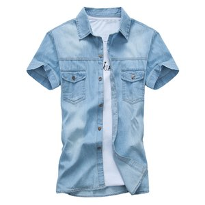 Summer Brand Denim Shirt Men Cotton Short Sleeve Turn-down Collar Mens Shirts Casual Slim Fit Men's Jeans shirts Chemise homme