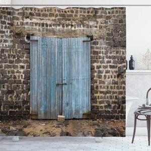 Tarihli Kapalı Barn Gotik Ortaçağ Avrupa Kentsel İl İlçe Manzara Banyo Dekor Set Rustik Perde Taş Duvar