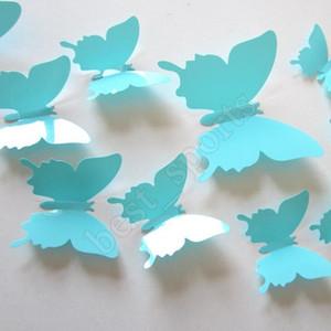 12pcs / lot PVC DIY Wall Sticker Nouveau 3D Miroir papillon autocollant pour mur Parti fenêtre Fournitures ZZA1383