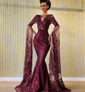 Árabe vestido uva Evening Yousef aljasmi Kim kardashian O-Neck Mermaid Puffy manga Lace vestido longo 00as Zuhair Murad Ziadnakad