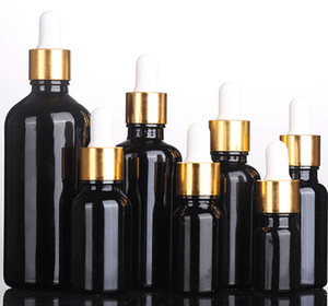 Refillable Empty Dropper Bottle Black Essential Oil Glass Aromatherapy E Liquid Pipette Bottles with Gold Cap