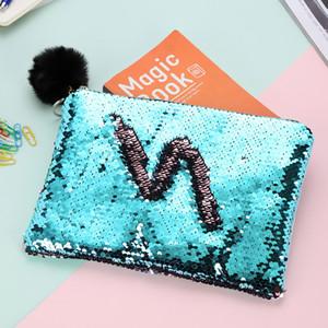 SICAK Denizkızı Payet Makyaj Çantası Kürk Topu Fermuar Kılıfı Kalem Kutusu Saklama Poşetleri Taşınabilir Glitter Döner Pullu Kozmetik Çantası