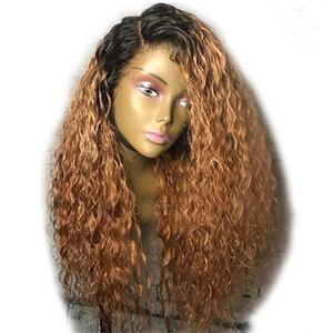 Lace Front человеческих волос Парики бразильские глубокая волна парики человеческих волос младенца волос 1B 30 Brown Ombre парик Бесплатная доставка