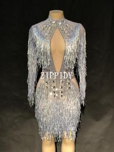 Strass moda sexy cristalli abito strass vedere attraverso Stretch Stage Dance indossare abiti da sera Celebrate frange costume
