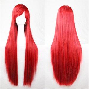 Kadınlar Peruk Yeşil Siyah Turuncu Pembe Uzun Düz Peruk Cosplay 80cm Peruk Gri Sarışın Kahverengi Mavi Kırmızı Gümüş Mor Sentetik Peruk