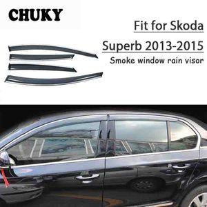 Chuky 4pcs refugios ABS Car Styling Sun de la ventana viseras Toldos protección contra la lluvia para Skoda Superb 2013 2014 2015 Accesorios para automóviles