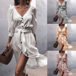 Dongkuan sleeve V-neck dress strap women