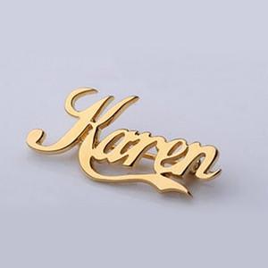 Customize Broche Para Mulheres Homens Ouro Prata Manuscrito Assinatura algum nome qualquer fonte Broches Pinos Etiqueta Pin presente do partido Jóias