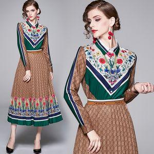 Роскошные модные женские платья из двух частей взлетно-посадочной полосы дизайнер с длинным рукавом рубашка + юбка костюм платье тонкий плюс размер дамы печатных двух частей наборы