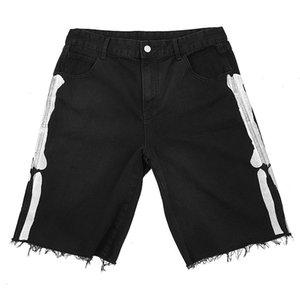 Мужские джинсы кости чернильная печать черные короткие джинсы пляжные брюки джинсовые шорты мода промытые рваные отбеленные проблемные M-XL
