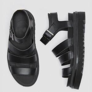 Роскошный дизайнер гладиаторских сандалий женщины черного лето причинная обувь удобного натуральная кожа пряжка др мартин сандалия платформы размер 35-40