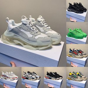 Nova forma clara Sole Triple S Plataforma Casual pai Shoes Triple-S 17FW Preto Vintage Verde Air Kanye Luxo Womens Designer Sneakers 36-45
