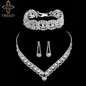 Großhandel Silber Farbe Strass Kristall Brautschmuck Sets für Frauen Halskette Ohrringe Armband Set Hochzeit Schmuck Zubehör