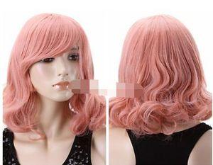 Cosplay Harajuku Anime Halloween Girl Short Curly Healthy Hair Pink Full Wig for women wig