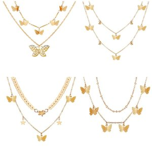 Vintage Boho Hollow Butterfly Pendant Necklaces For Women Fashion 6 Style Multilevel Gold Geometric Necklace Jewelry Party Gift