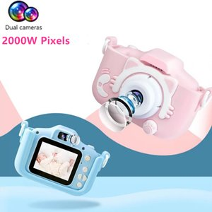 Kids Digital Camera 2 Inch HD Screen Dual Cameras Projection Video 2000W Pixels Children Gifts Boys Girls Toys Parent Child Game T200602