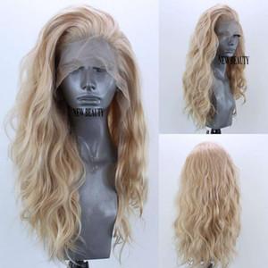 Neues kostenloses Mixed menschliches Haar Teil Simulation Blonde Lace Front Perücken für Frauen weicher Kunsthaar Perücke lose Cosplay Perücken Hitzebeständige Welle