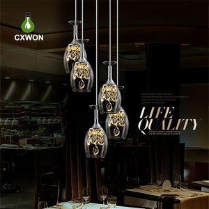Salon moderne Lunettes Lustre Lustre 3-Lights Lustre Bar de Prestige Restaurant Restaurant Restaurant Cristal Vin Pendentif Lights DGNNJ