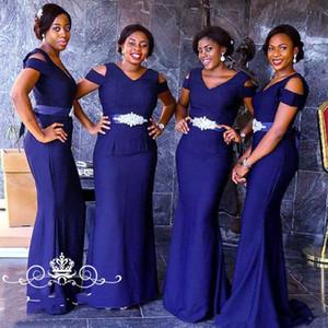2020 Nuevo azul real del satén largo vestido de dama con las mangas cortas rebordear Sash Mujeres Africanas sirena criada del vestido de fiesta Vestidos