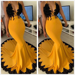 2020 African Halter Satin Mermaid Prom Dresses Sexy Lace Applique Women Pageant Dresses Sheer Neck Satin Long Party Evening Gowns BC3341