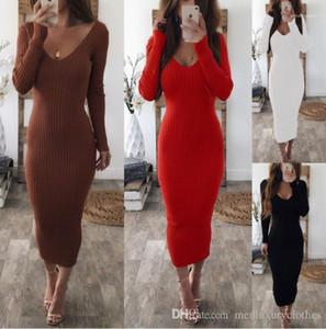 اللباس مثير الهيئة غير الرسمية طويل الخريف الشتاء محبوك بأكمام طويلة مخطط الفساتين مزدوج V المرأة