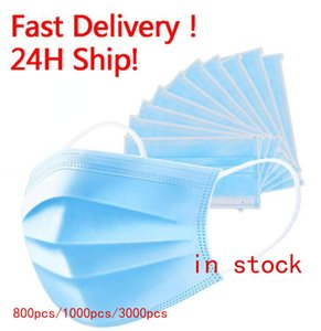 Disposable Face Mask 3 Layer Ear-loop Dust Mouth Masks Cover 3-Ply Non-woven Disposable Dust Mask Soft Breathable outdoor part Daily use