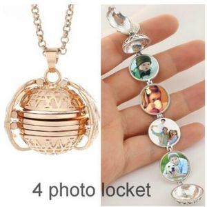 4 Photo Médaillon Pendentif Colliers Médaillons Colliers pour femmes Collier Wing Médaillon multicouches Mode Bijoux cadeau