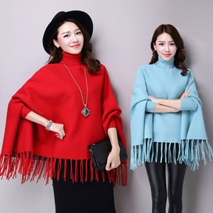 Primavera Autunno nuove donne elegante mondana cashmere con nappe Cardigan maglioni dolcevita manicotti del Batwing Cape Outwear Knit Poncho