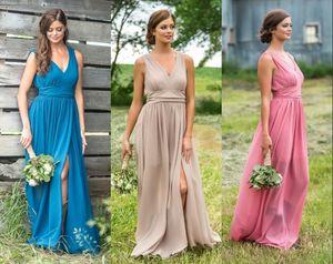 New Arrival Cheap Cheap Bridesmaid Dresses Pink V neck Floor Length Pleat Maid of Honor Dresses BM0625