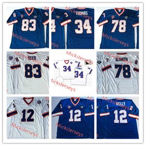 Mens NCAA # 12 Jim Kelly de la vendimia del jersey del fútbol cosido Roayl blanco # 34 Thurman Thomas # 78 Bruce Smith # 83 Andre Reed Jersey S-3XL