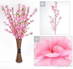 Artificial Cherry Spring Plum Peach Blossom Branch Silk Flower Tree para la decoración del banquete de boda blanco rojo amarillo rosa 5 colores 6LX6