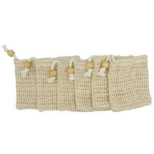 Hot New 6Pcs Soap Storage Bag,100% Natural,Scrub Exfoliation,With Drawstring and Wooden Bead Holder