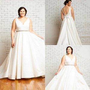 Скромный плюс размер свадебные платья пляж свадьба сатин a line lewear поезда v шеи сексуальная спина простой элегантный boho bridal платья sash