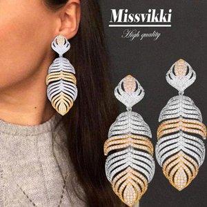 missvikki Luxus Exquisite Big-Blatt-hängende Ohrringe Trendy Nigerian Dubai Brautfrauen Hochzeits-Verpflichtungs-Zubehör