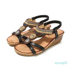 Comfort Shoes For Women Beige Heeled Sandals 2020 Women Med Large Size Summer Heels Wedge Open Toe Comfort Block Black z02