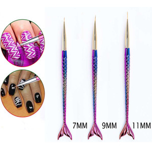 Nail Art Line Painting Brush Crystal Acrylic Thin Liner Drawing Pen Mermaid Manicure Tool UV Gel Nail Brush Set Nails Art Paint Kits