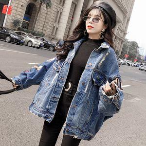 Sexemara Fashion Новая Свободная дыра Вышивка Патч Джинсовая Куртка Бесплатная Доставка