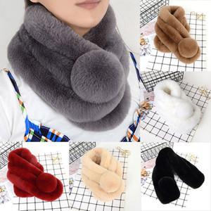 여성 랩 스카프 스카프 가짜 모피 따뜻한 여성 여성 겨울 소프트 솔리드 가짜 렉스 모피 선물을 따뜻하게