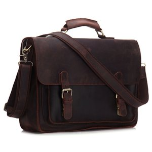 BOLEKE New Arrival Vintage Crazy Horse Leather Man Porte-documents pour ordinateur portable Sac de portable d'affaires Hommes Messenger