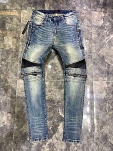 Mens Designer Ripped Biker Jeans US-Größe 28 ~ 42 Slim Fit Motorradfahrer Denim für Männer Modedesigner Hip Hop Jeans Männer gute Qualität