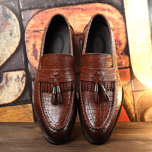 Male Dress Loafers Men's Flats Crocodile Leather Tassel Slip On Oxford Shoes For Men Brand Leather shoes sdc67