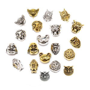 Toptan 20pcs / lot Lion Buda Başkanı Boncuk Tibet Gümüş Boncuk Metal Leopar Kurt Bilezik için Takı Yapımı