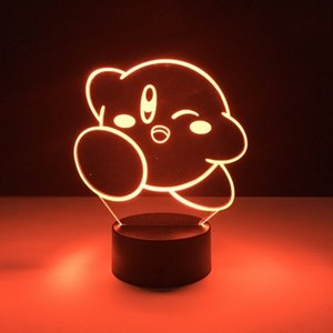 Kirby 3D LED Night Light 7 Color Changing Lamp Room Decoration Action Figure Toy For Birthday Christmas Gift T200603