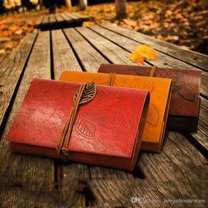 Студенты Прочный Blank Notebook PU Обложка Катушки Блокнот Книга ретро листьев Путешествия Дневник Книги Kraft Journal Спираль Notebooks BC BH1483