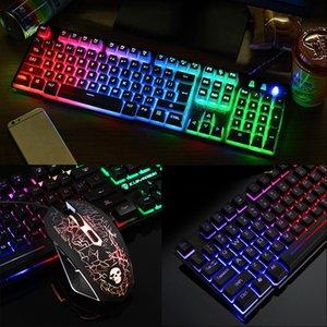 T6 luminosa teclado e conjunto de mouse de desktop jogo de computador robótico sensação Teclado Mouse Combos DHL livre